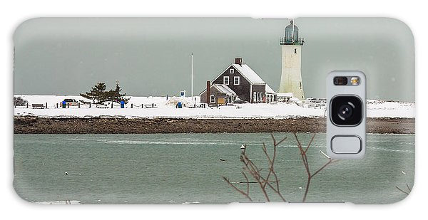 Snow At Scituate Lighthouse Galaxy Case