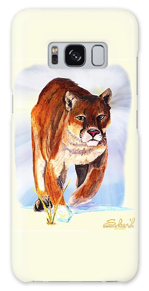Snow Cougar Galaxy Case by Sherril Porter