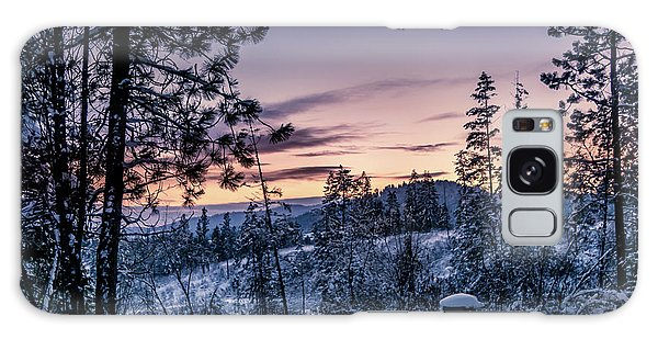 Snow Coved Trees And Sunset Galaxy Case
