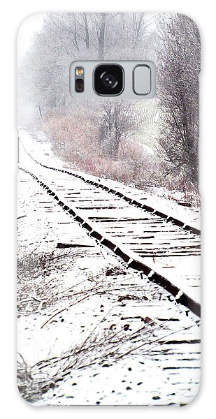 Snow Covered Wisconsin Railroad Tracks Galaxy Case