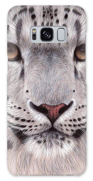 Snow Leopard Face Galaxy Case by Rachel Stribbling
