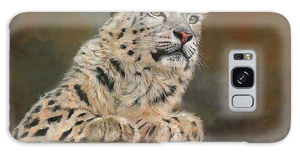 Snow Leopard On Rock Galaxy Case by David Stribbling