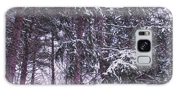 Snow Storm On Pines Galaxy Case by Sandy Moulder