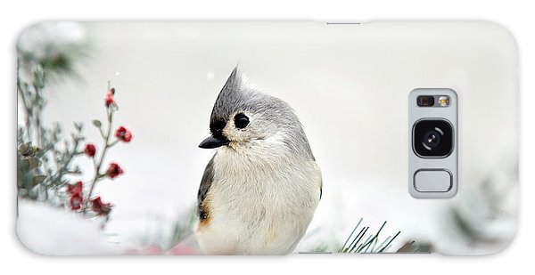 Galaxy Case featuring the photograph Snow White Tufted Titmouse by Christina Rollo