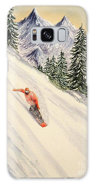Galaxy Case featuring the painting Snowboarding Free And Easy by Bill Holkham