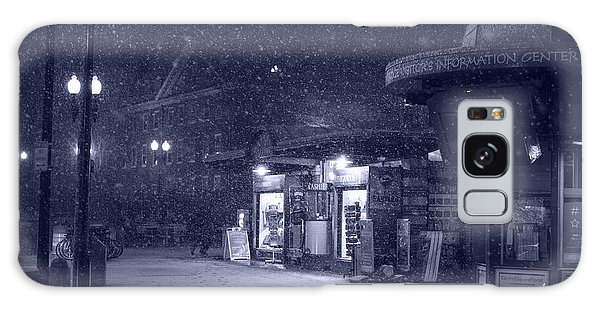 Snowfall In Harvard Square Cambridge Ma Kiosk Monochrome Blue Galaxy Case