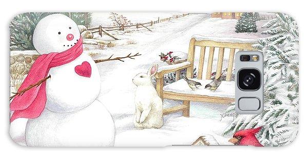 Snowman Cardinal In Winter Garden Galaxy Case