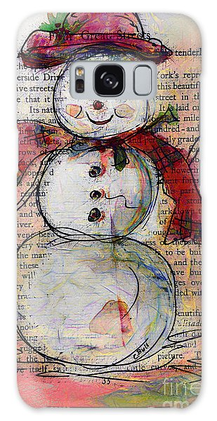 Snowman With Red Hat And Mistletoe Galaxy Case