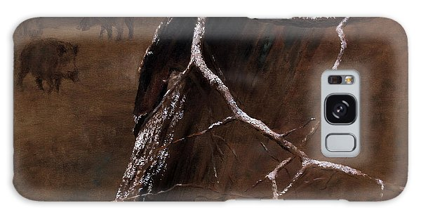 Snowy Branch With Wild Boars Galaxy Case