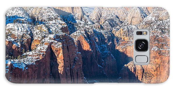 Snowy Cliffs Of Zion National Park Galaxy Case