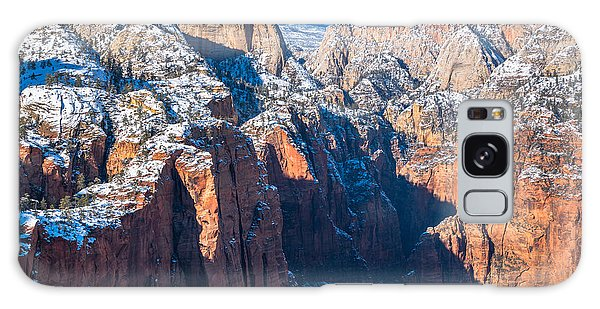 Snowy Cliffs Of Zion National Park Galaxy Case