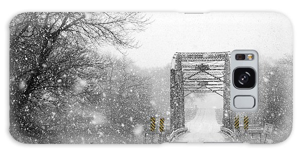 Snowy Day And One Lane Bridge Galaxy Case