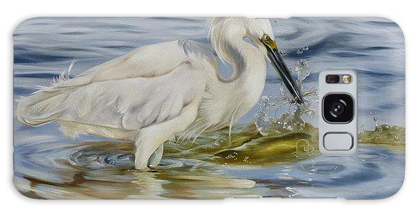 Snowy Egret Hunting Shrimp Galaxy Case