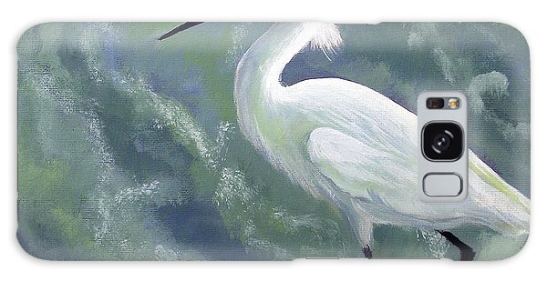 Snowy Egret In Water Galaxy Case