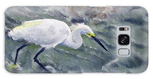 Snowy Egret Near Jetty Rock Galaxy Case