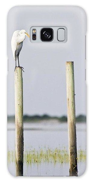 Snowy Egret On Pilings Galaxy Case