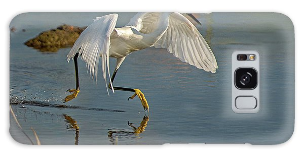 Snowy Egret On The Move Galaxy Case