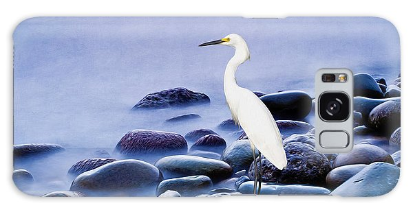 Egret Galaxy Case - Snowy Egret On The Rocks by Laura D Young
