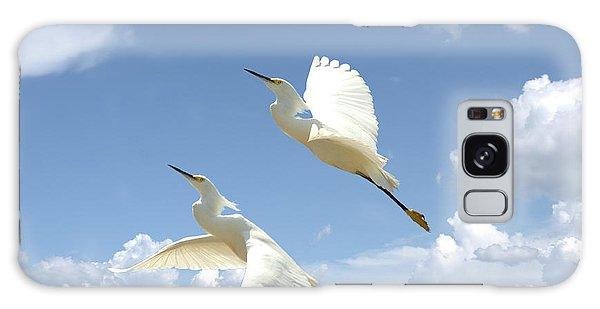 Snowy Egrets In Flight Galaxy Case