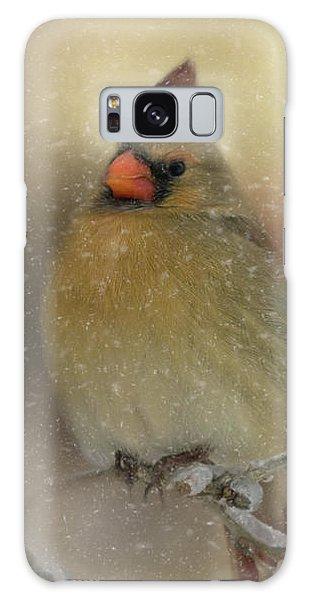 Snowy Female Cardinal Galaxy Case by Lana Trussell