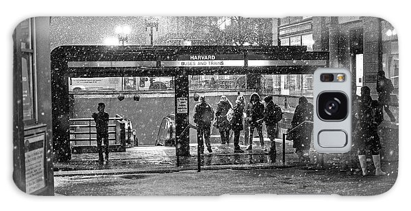 Snowy Harvard Square Night- Harvard T Station Black And White Galaxy Case