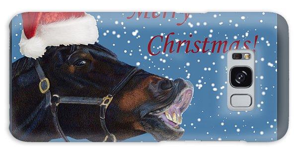 Snowy Horse Jumping Christmas Galaxy Case