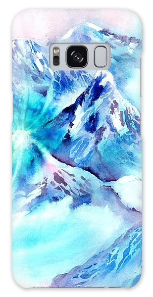 Snowy Mountains Early Morning Galaxy Case