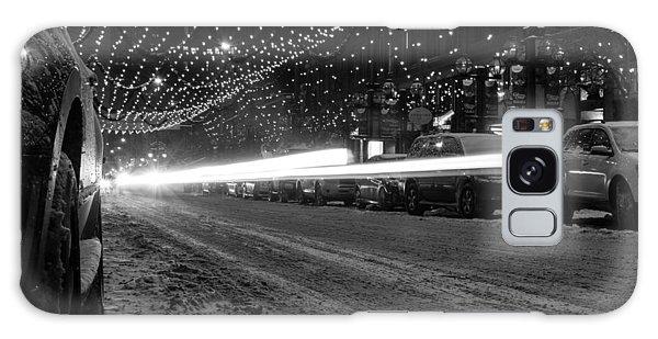 Snowy Night Light Trails Galaxy Case