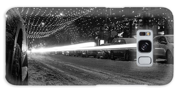 Snowy Night Light Trails Galaxy Case