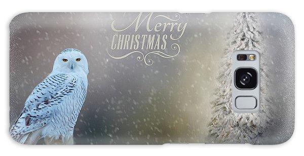 Snowy Owl Christmas Greeting Galaxy Case
