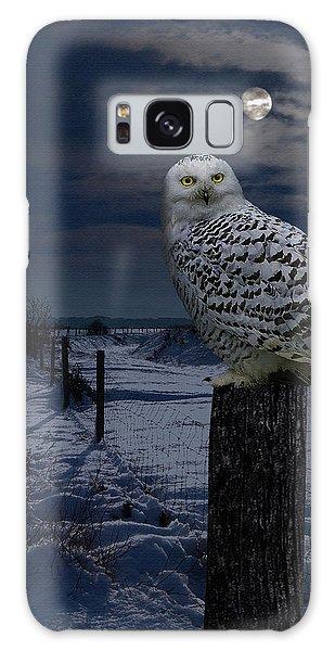 Snowy Owl On A Winter Night Galaxy Case