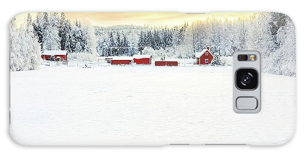Snowy Ranch At Sunset Galaxy Case