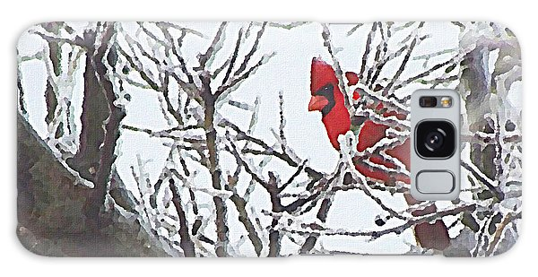 Galaxy Case featuring the digital art Snowy Red Bird A Cardinal In Winter by Shelli Fitzpatrick