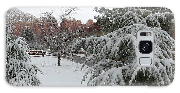 Snowy Sedona Red Rocks Galaxy Case by Marlene Rose Besso