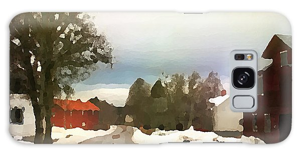 Galaxy Case featuring the digital art Snowy Street With Red House by Shelli Fitzpatrick