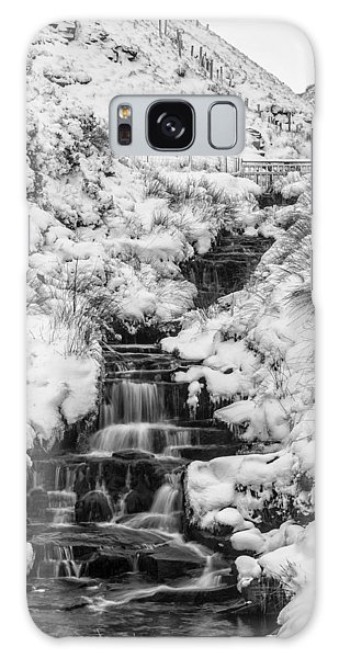 Snowy Waterfall In The Peak District In Derbyshire Galaxy Case