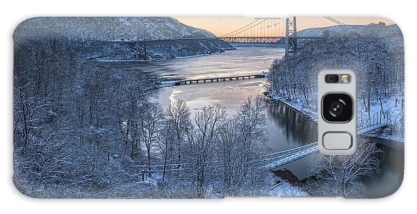 Snowy Winter Dawn At Three Bridges Galaxy Case