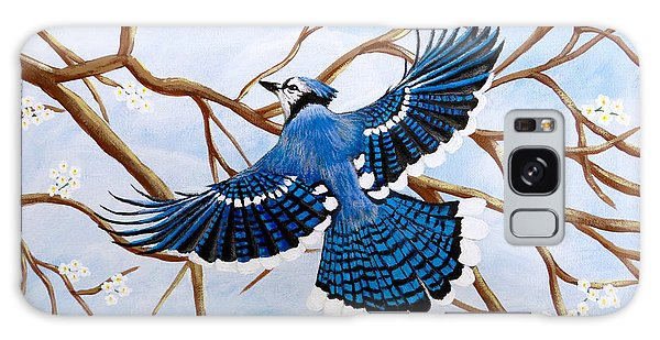 Galaxy Case featuring the painting Soaring Blue Jay  by Teresa Wing