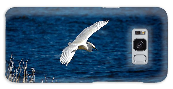 Soaring Snowy Egret  Galaxy Case by DigiArt Diaries by Vicky B Fuller