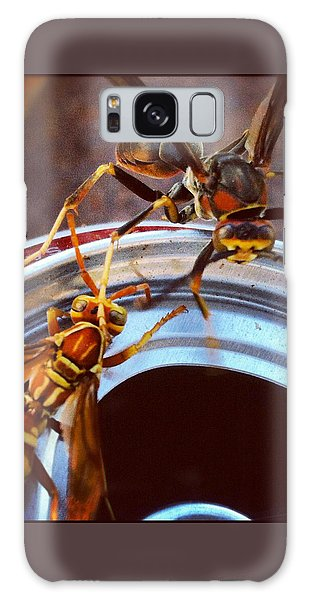 Galaxy Case featuring the photograph Soda Pop Bandits, Two Wasps On A Pop Can  by Shelli Fitzpatrick