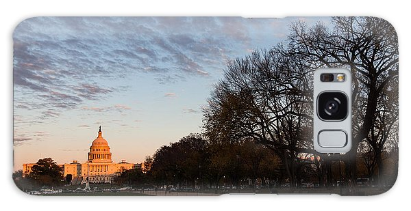 Soft Orange Glow - U S Capitol And The National Mall At Sunset Galaxy Case