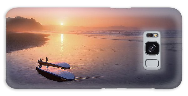 Sopelana Beach With Surfboards On The Shore Galaxy Case