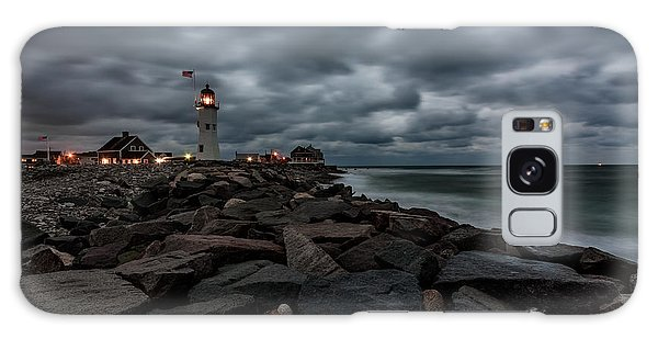 Stormy Clouds Over Old Scituate Lighthouse In The Early Morning Galaxy Case