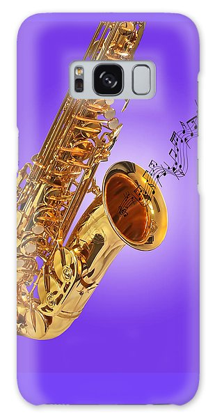 Sounds Of The Sax In Purple Galaxy Case by Gill Billington