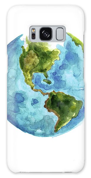 Central America Galaxy Case - Planet Earth, South America Illustration, Watercolor World Map Painting by Joanna Szmerdt