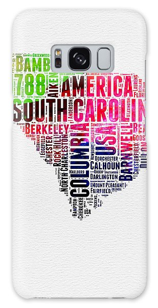 America Map Galaxy Case - South Carolina Watercolor Word Cloud by Naxart Studio