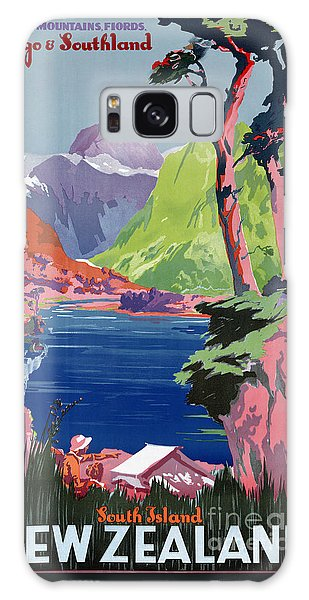 South Island New Zealand Vintage Poster Restored Galaxy Case