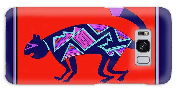 Galaxy Case featuring the digital art Southwest Mimbres Feline by Vagabond Folk Art - Virginia Vivier