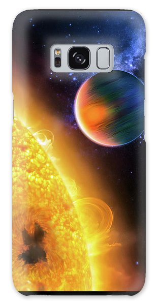 Galaxy Case featuring the photograph Space Image Extrasolar Planet Yellow Orange Blue by Matthias Hauser