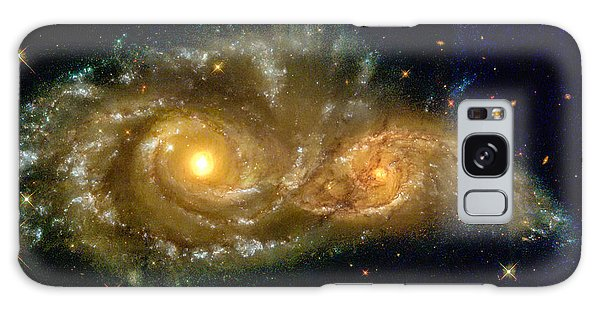 Galaxy Case featuring the photograph Space Image Spiral Galaxy Encounter by Matthias Hauser